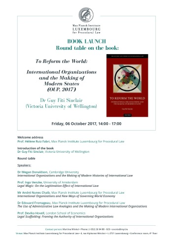2017-10-06_Poster_Book_Launch_To_Reform_the_World_International_Organizations_and_the_Making_of_Modern_States